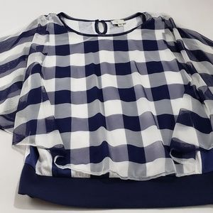 Anthropologie Postmark Gingham Sheer Blouse Top